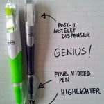 Post It highlighter pens