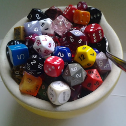 A breakfast bowl full of polyhedral dice