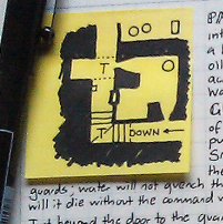 Map square on a stickie note