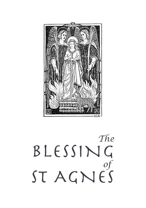 Cover image of The Blessing of St Agnes with a picture of St Agnes flanked by angels