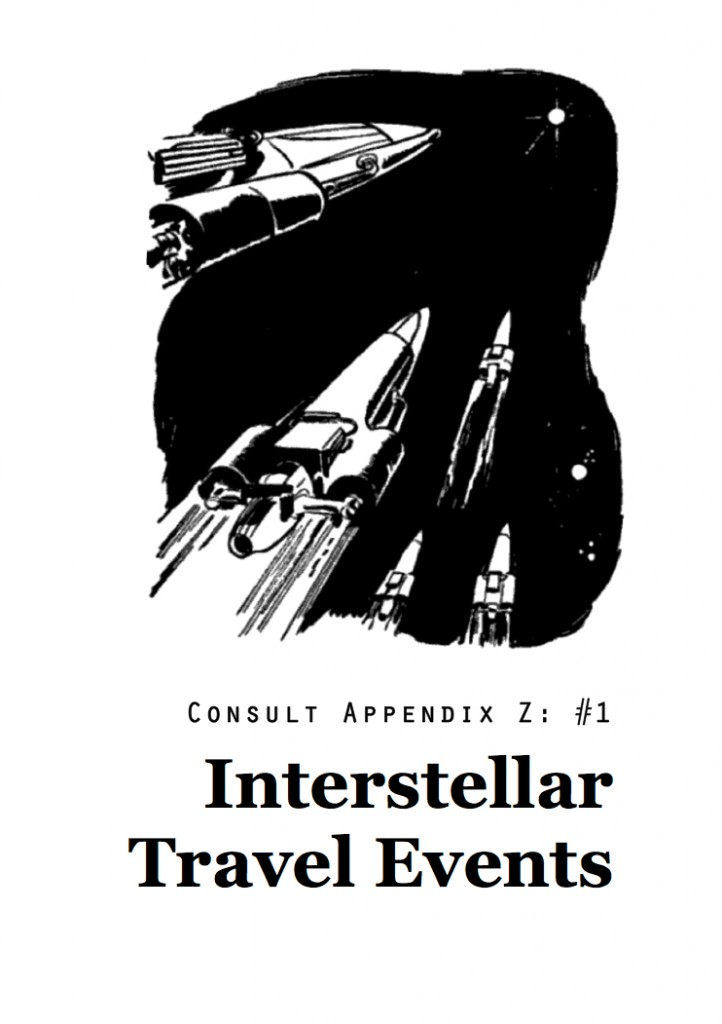 Cover image of Consult Appendix Z No 1 Interstellar Travel Events featuring five starships zipping through the void