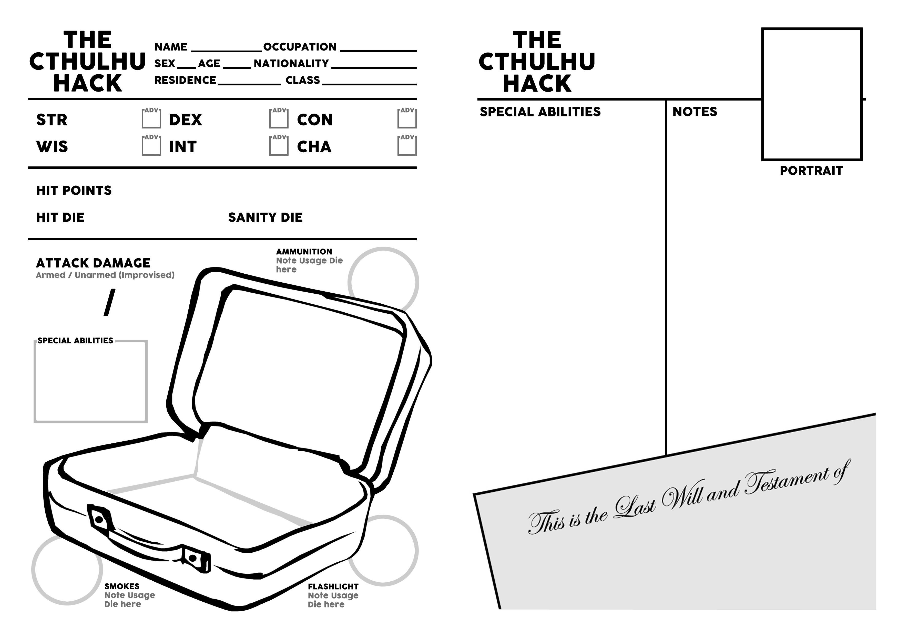 Extended Cthulhu Hack Character Sheet