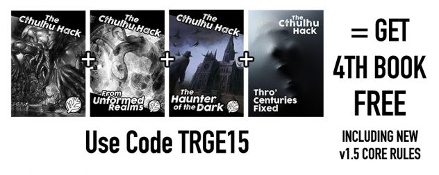 The four Cthulhu Hack books available as